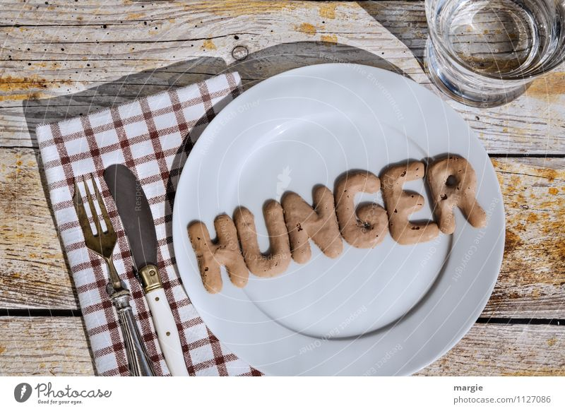 hunger Nutrition Diet Fasting Appetite Beverage Cold drink Drinking water Plate Glass Knives Fork Healthy Poverty Thin Brown Thirst Distress Frustration