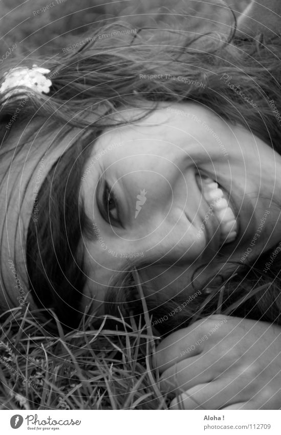 Woman Summer Joy Face Relaxation Emotions Grass Blossom Laughter Happiness Multiple Desire Lips Protection Longing Mysterious