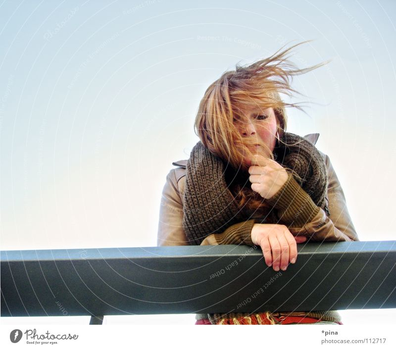 Woman Sun Autumn Cold Think Dream Wind Hope Desire Protection Handrail Freeze Lovesickness Freckles Scarf Red-haired