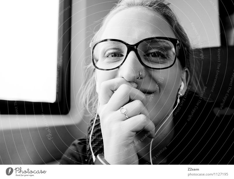 She can laugh. Lifestyle Elegant Vacation & Travel Trip Feminine Young woman Youth (Young adults) 18 - 30 years Adults Means of transport Passenger traffic