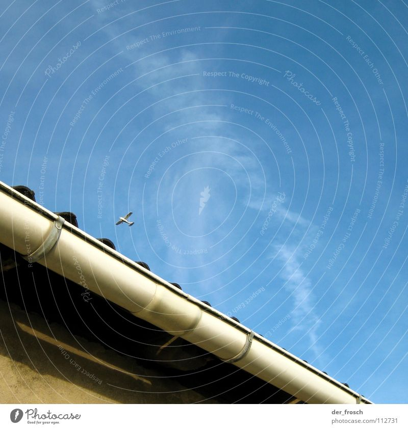 Sky Blue House (Residential Structure) Wall (building) Airplane Aviation Roof Gutter Gable Rain gutter