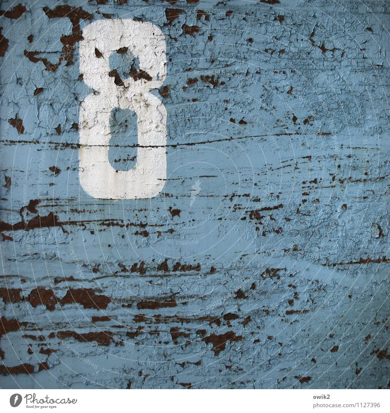 fresh start Metal Sign Digits and numbers Old Trashy Blue White Design Decline Past Destruction 8 Rust Dye Ravages of time Derelict Background picture