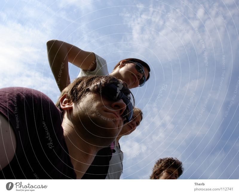 rigor mortis Sunglasses Worm's-eye view Watchfulness Looking Group Sky PeopleCool Exterior shot