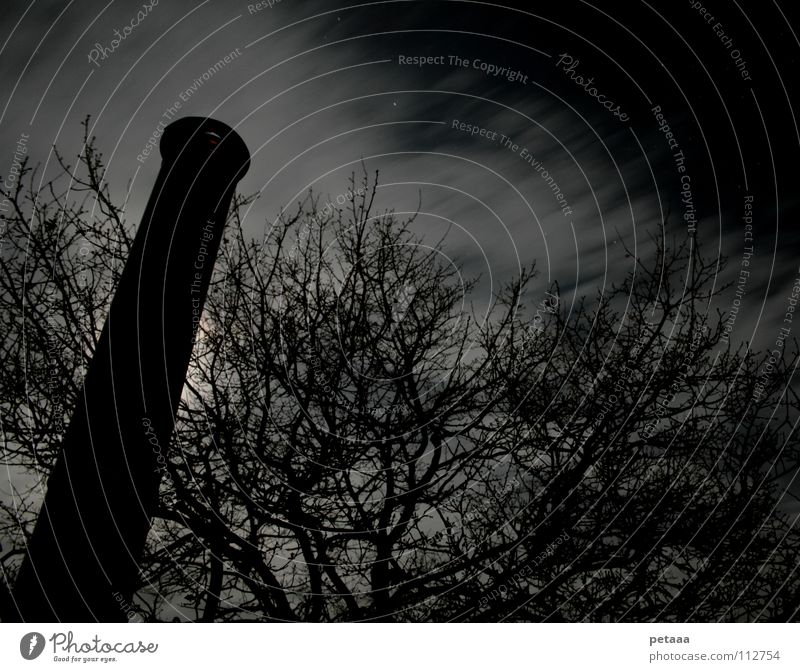 Kevin Pascal Clouds Night Tree Long exposure Night sky Sky Moon Chimney Iron-pipe Branch