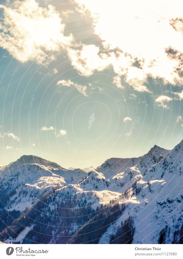 Sunbeams / Alps Harmonious Well-being Contentment Senses Relaxation Calm Meditation Vacation & Travel Tourism Trip Far-off places Winter Winter vacation