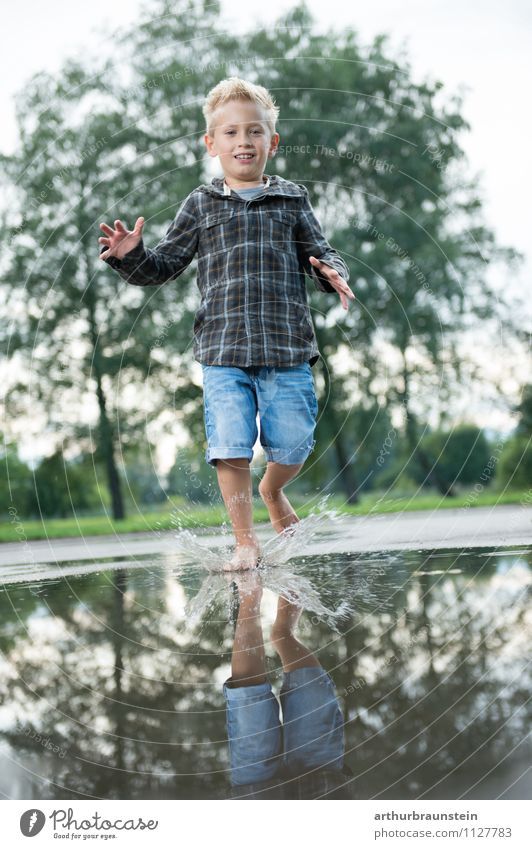 Human being Child Nature Summer Water Tree Joy Forest Life Boy (child) Playing Healthy Garden Jump Park Masculine