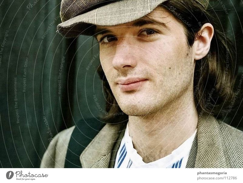 Man 18 - 30 years Adults Gray Clothing Uniqueness Retro Historic Past Cap Long-haired Vintage Nostalgia Partially visible Artist Earnest