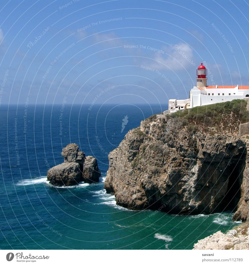 Lighthouse on cliff at Cabo São Vincente near Sagres in Portugal. Vacation & Travel Far-off places Freedom Summer Beach Ocean Waves
