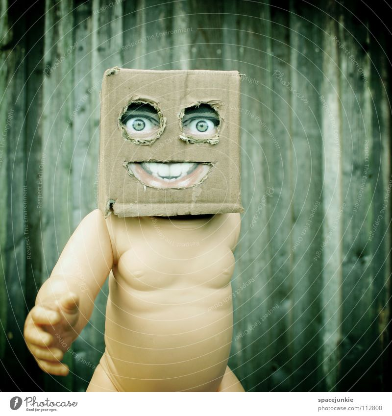 Living in a box (2) Cardboard Whimsical Humor Wall (building) Freak Square Wood Glove puppet Toys Joy Face Mask Hiding place Hide square skull