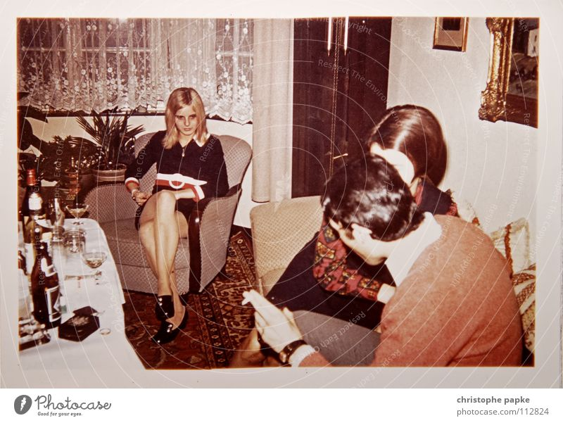 Bored Woman Seventies Retro Armchair Carpet Biedermeier Petit bourgeois Blonde Footwear Living room Bottle of beer Boredom Group 1970 Hippie Scan To talk Legs