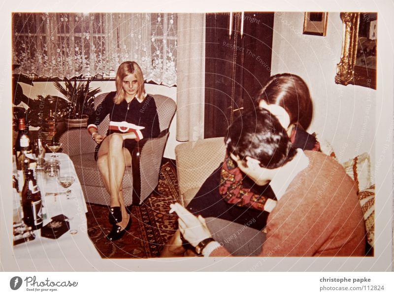 Woman To talk Group Legs Footwear Blonde Retro Smoking Living room Boredom Carpet Armchair Seventies Hippie Bottle of beer Scan