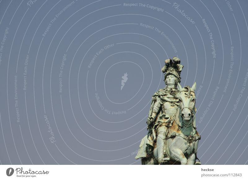 Man Old Sky Blue Horse Europe Statue Monument Landmark Portugal Memory Pride Lisbon Rider Bronze Dignity