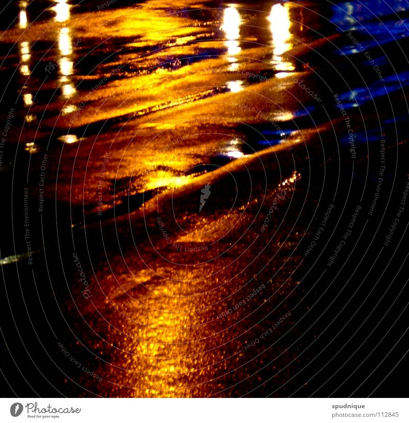 sunset Light Reflection Night Puddle Cold Black Surface Asphalt Calm Loneliness Traffic infrastructure Autumn Beautiful Street Rain Water Blue Orange Deep