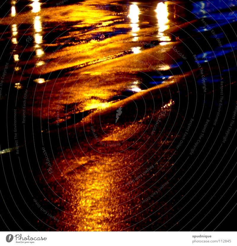 Water Beautiful Blue Calm Black Loneliness Street Cold Autumn Rain Orange Asphalt Traffic infrastructure Deep Puddle Surface