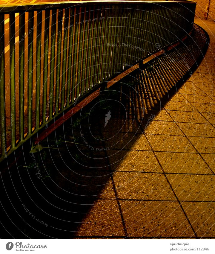 swing Night Town Loneliness Pedestrian Sidewalk Traffic infrastructure Beautiful Autumn Handrail Shadow Structures and shapes Line Perspective Lanes & trails