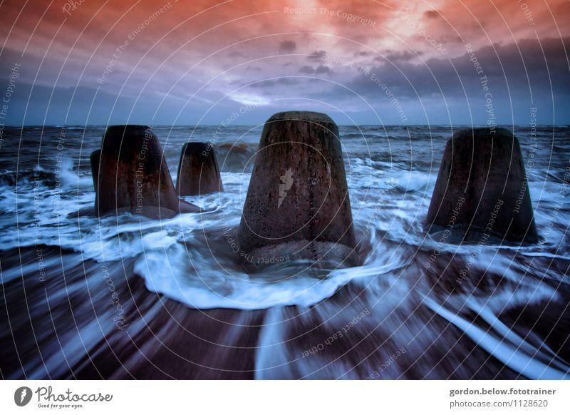 Blue Water Ocean Landscape Winter Coast Orange Waves Island Concrete Wet Threat Protection Safety Harbour Storm