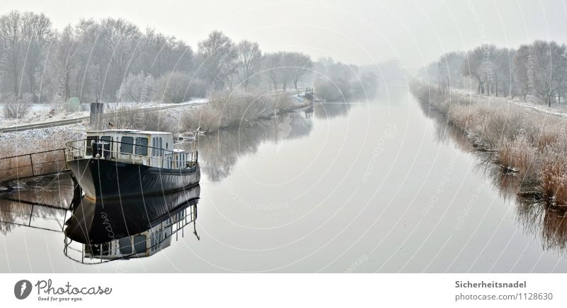 On the Hadelner Canal Water Winter Fog Ice Frost River bank Channel Navigation Boating trip Fishing boat Cold Exterior shot Reflection