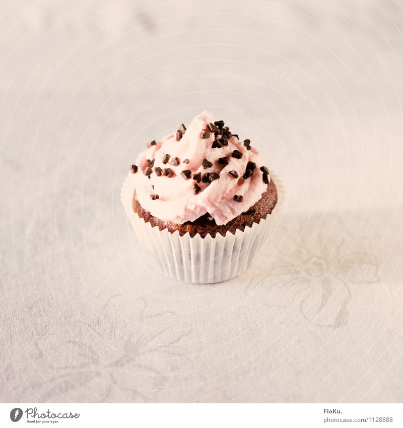 small cake Food Cake Dessert Nutrition To have a coffee Delicious Sweet Pink White Cupcake Muffin Rich in calories Sugar Cream Chocolate Chocolate crumble