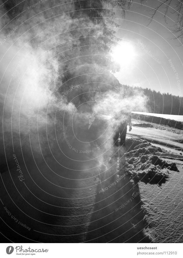 Human being Sky White Sun Winter Black Landscape Cold Graffiti Fog Switzerland Smoke Mystic
