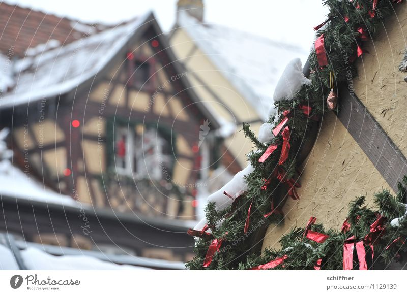 Christmas truss. Village Small Town Downtown Old town House (Residential Structure) Cold Christmas & Advent Snowfall Gable Gable end Half-timbered facade
