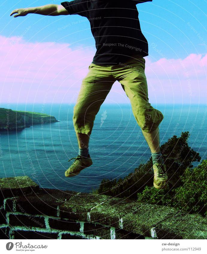 my heart dances Jump Hop Infatuation Masculine Man Wall (barrier) Ocean Shorts Joy Sing Headless Horizon Foreign countries Vantage point Dream Exuberance