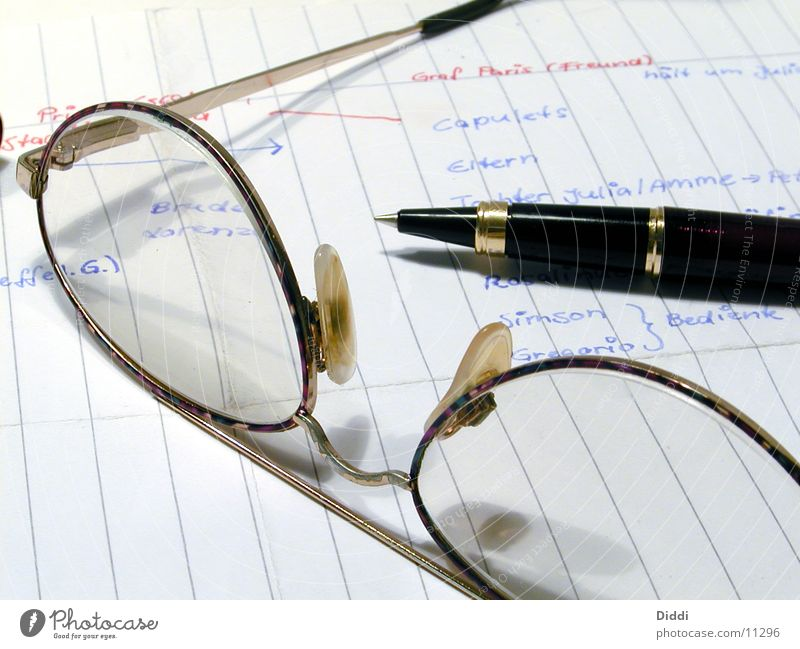 Business Characters Eyeglasses Paper Writer Pen Ballpoint pen Fountain pen Writing utensil