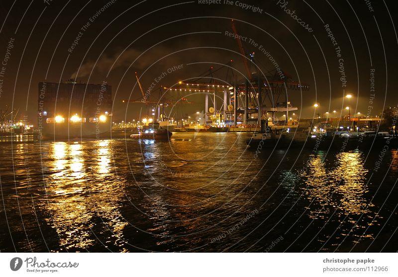 Water Vacation & Travel Dark Lake Watercraft Lighting Germany Night Hamburg Industry Logistics River Harbour Exhaust gas Jetty Navigation