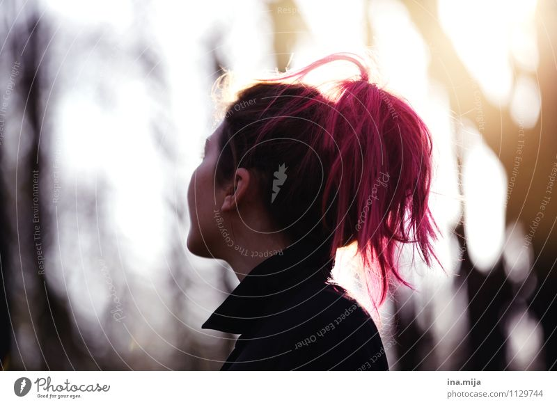 Human being Nature Youth (Young adults) Young woman 18 - 30 years Forest Adults Sadness Autumn Feminine Religion and faith Hair and hairstyles Pink Dream
