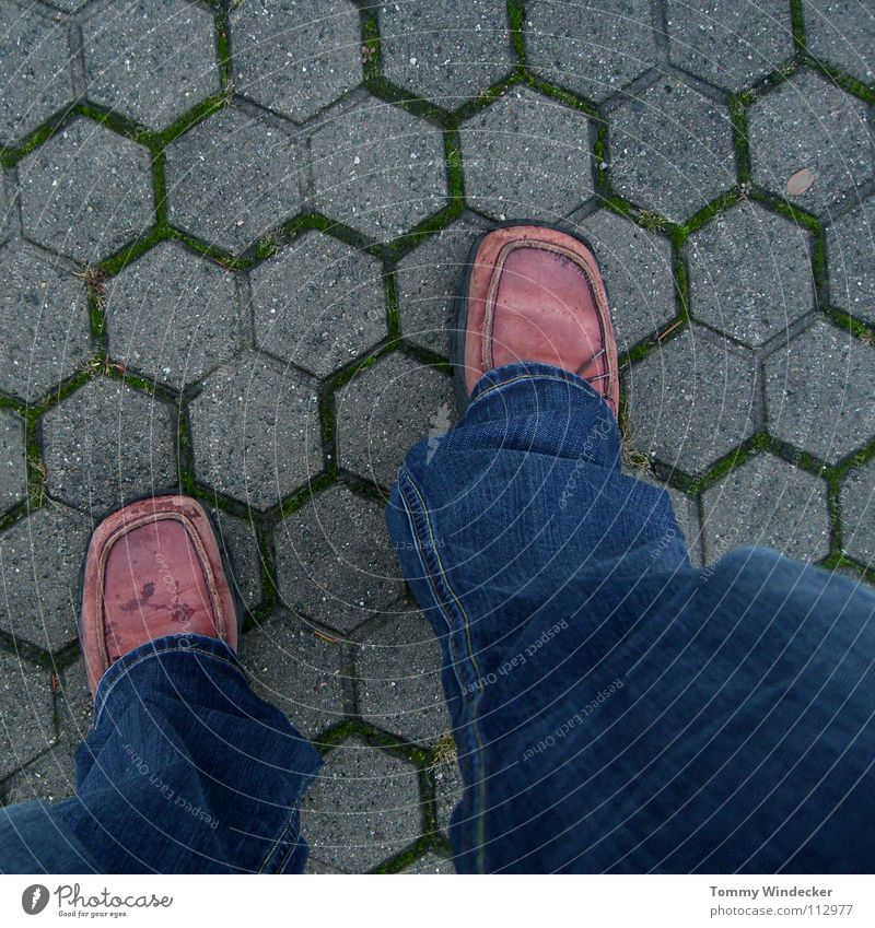 Man Blue Loneliness Street Cold Autumn Gray Stone Feet Lanes & trails Rain Footwear Legs Going Weather Walking