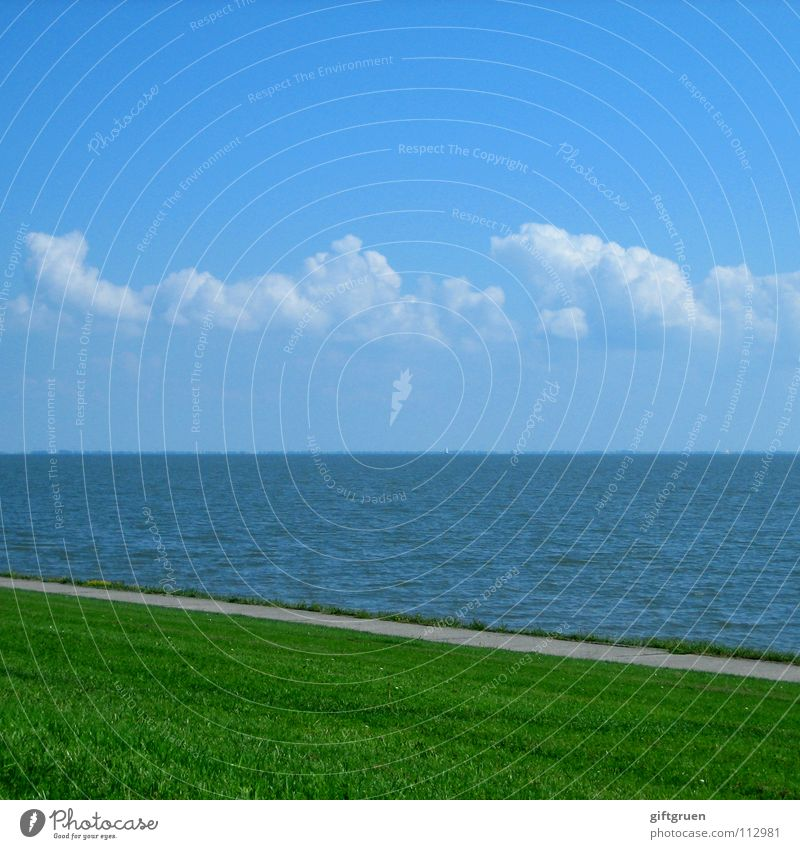 Sky Ocean Green Blue Summer Beach Clouds Meadow Grass Lanes & trails Coast Horizon Stripe North Sea Striped Minimalistic