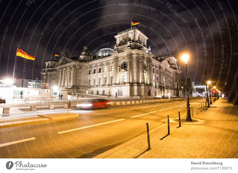 Reichstag at night Sky Clouds Capital city Downtown Manmade structures Architecture Landmark Road traffic Car Movement Education Berlin Politics and state