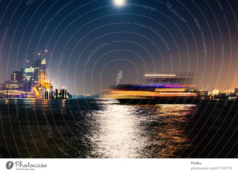 Movement on the Elbe Water Moon Full  moon Waves River Hamburg Town Port City Downtown Harbour Landmark Transport Means of transport Traffic infrastructure