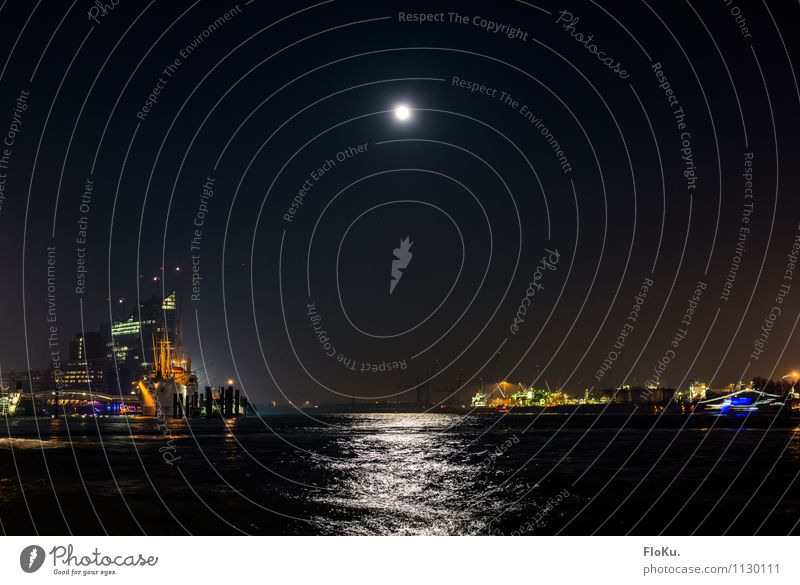 Full moon in Hamburg Water Moon Full  moon Waves River Elbe Town Port City Downtown Harbour Manmade structures Building Landmark Traffic infrastructure