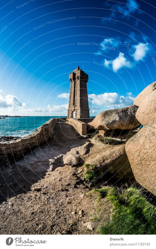 Hewn into the rock Nature Landscape Earth Sand Water Sky Clouds Summer Weather Beautiful weather Waves Coast Ocean Atlantic Ocean Blue Brown Pink White