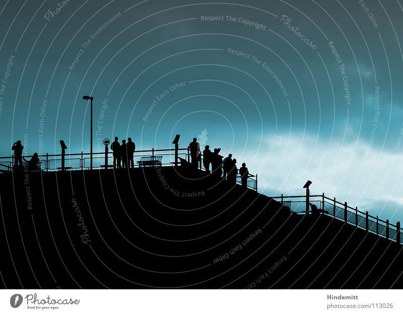 Human being Sky Sun Black Clouds Dark Group Bright Wait Sit Aviation Bench Stand Munich Observe Longing