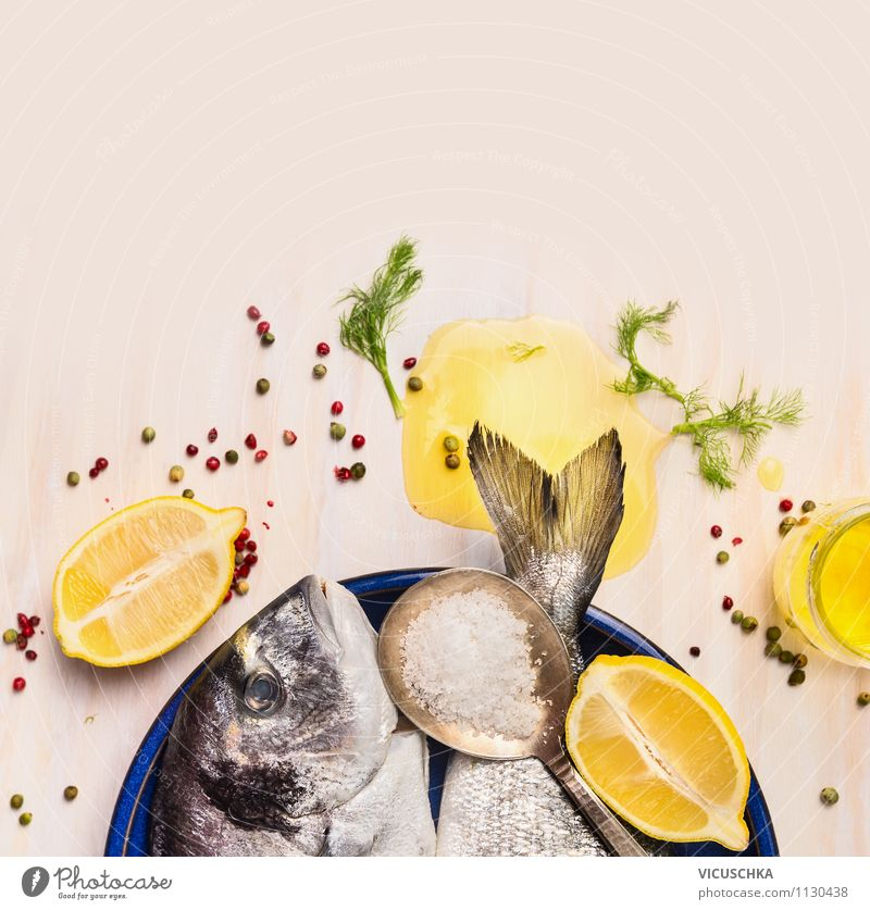 Dorado fish with oil and lemon Food Fish Fruit Herbs and spices Cooking oil Nutrition Lunch Dinner Banquet Organic produce Vegetarian diet Diet Plate Spoon