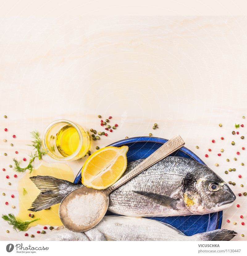 Background for fish dishes with gilthead and cooking spoon Food Fish Herbs and spices Cooking oil Nutrition Lunch Dinner Organic produce Vegetarian diet Diet