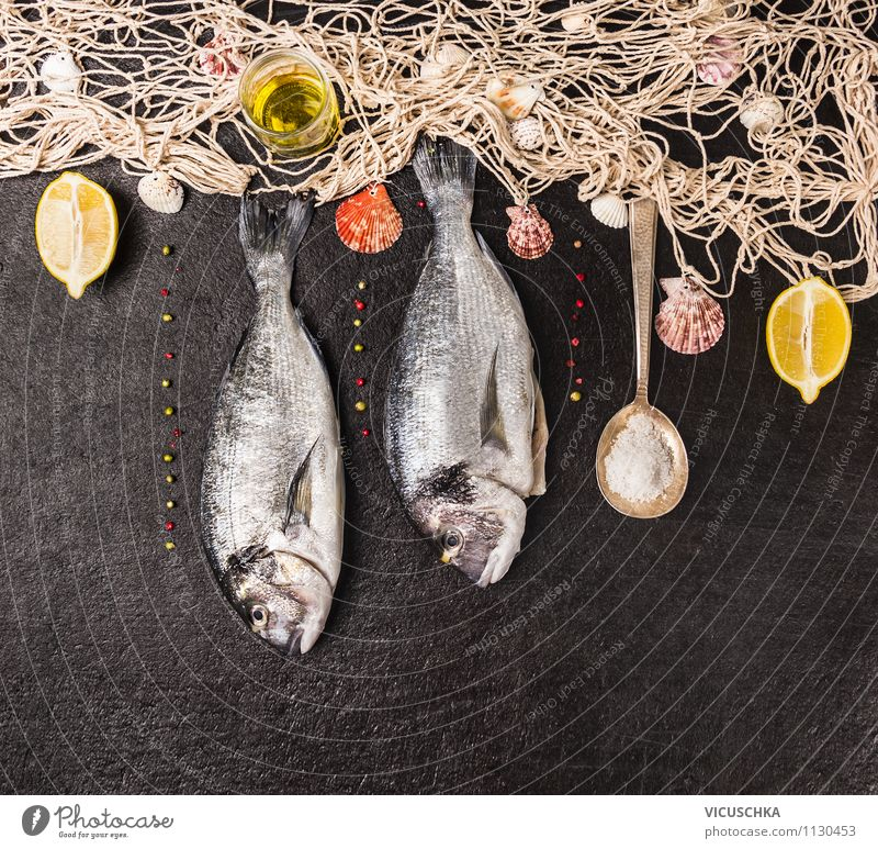 Fishnet and Dorado on black background Food Herbs and spices Cooking oil Nutrition Banquet Organic produce Vegetarian diet Diet Spoon Style Design