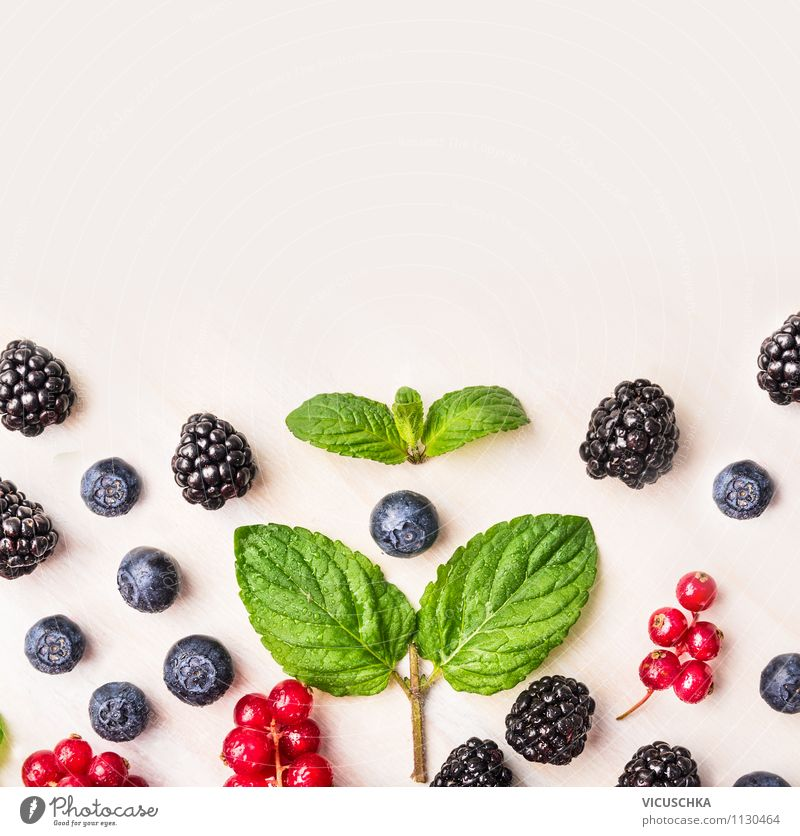 Mint and summer berries on a white table Food Fruit Dessert Nutrition Breakfast Organic produce Vegetarian diet Diet Juice Lifestyle Style Design Healthy
