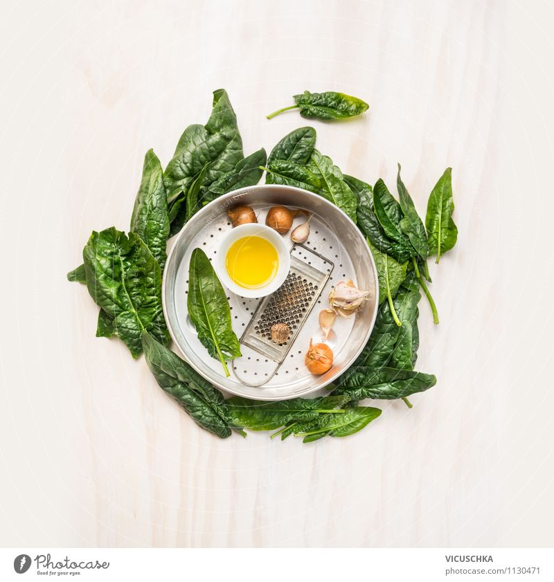 Fresh spinach with cooking ingredients in an old sieve Food Vegetable Lettuce Salad Herbs and spices Cooking oil Nutrition Lunch Dinner Organic produce