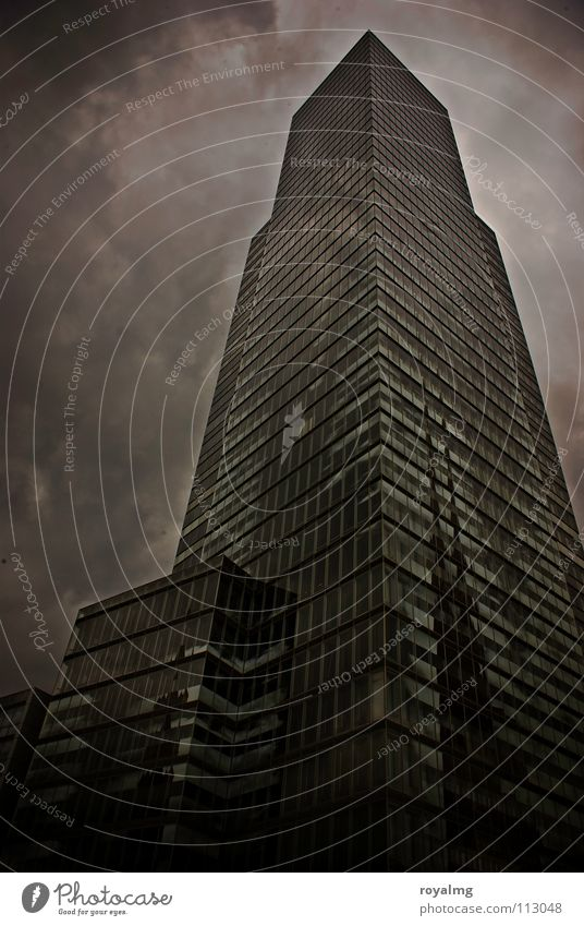 the ivory tower High-rise Black White Fog Clouds Dark Dreary Dangerous Black & white photo glass surface outbuilding Prefab construction Tower Evening Rain