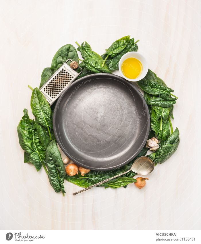 Empty plates and ingredients for spinach dishes Food Vegetable Lettuce Salad Herbs and spices Cooking oil Nutrition Lunch Dinner Buffet Brunch Organic produce
