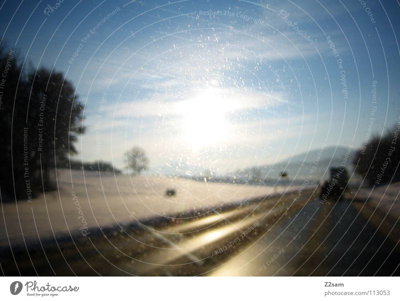 Sky Blue Tree Sun Winter Calm Landscape Yellow Street Mountain Snow Lanes & trails Happy Car Glittering Alps