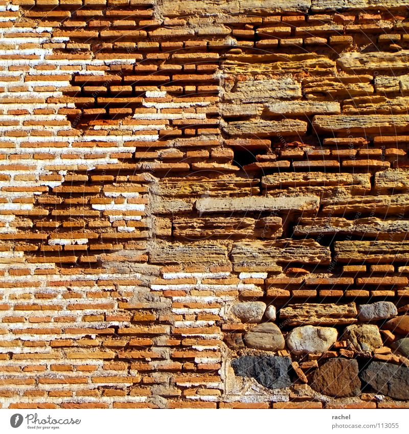Wallpaper Special Moorish Wall (barrier) Craft (trade) Manmade structures Ruin Historic Building Brick Interlaced Lie Mortar Natural stone Rubble Loam