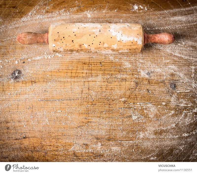Old dough roll on wooden table with flour Food Dough Baked goods Nutrition Crockery Style Design Table Kitchen Background picture Vintage Equipment Cooking