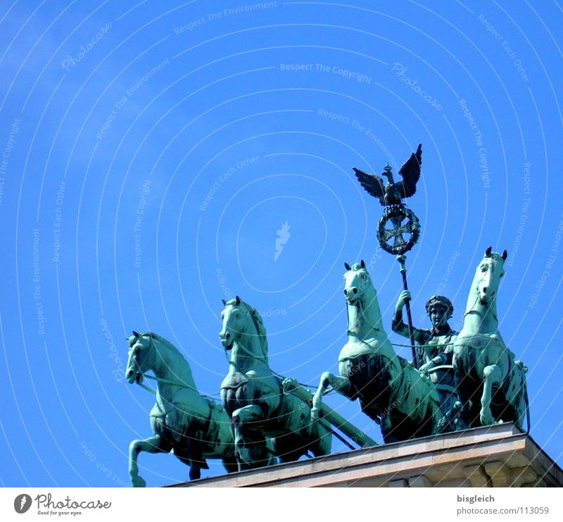 quadriga Brandenburg Gate Horse Exterior shot Art Historic Sky Berlin Landmark Monument chariots Blue Far-off places Freedom Tourist Attraction horses