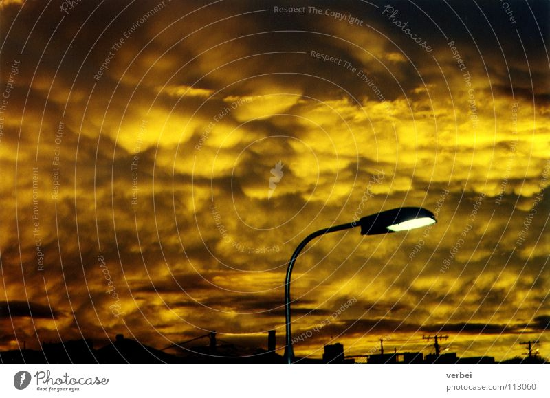 dusk Clouds Sunset Street lighting Eerie Extraterrestrial Threat Sulphur Dusk Australia Twilight Sky yellow light