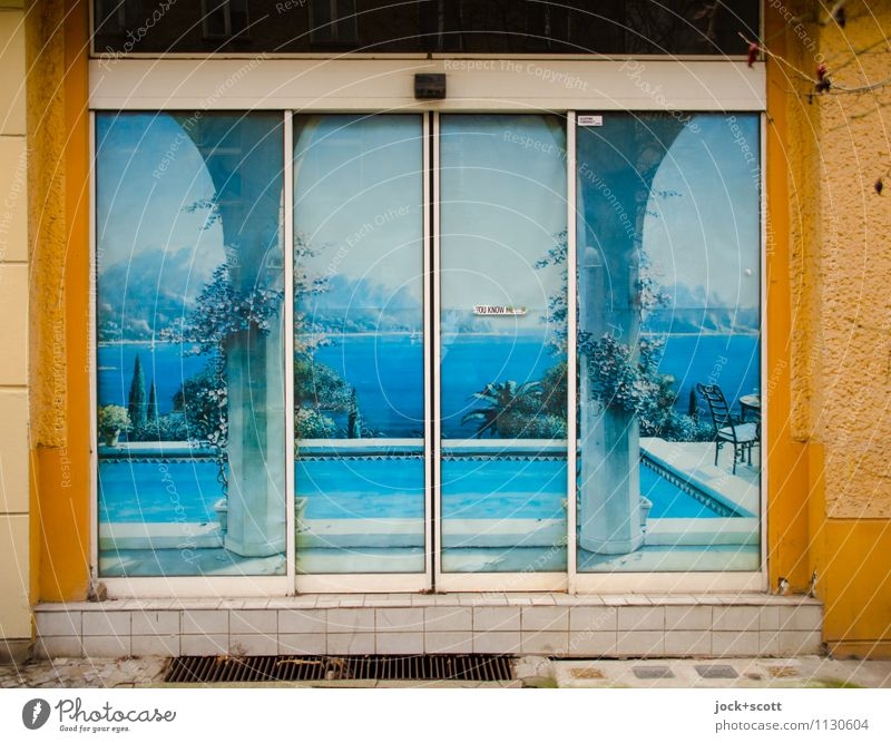 Push your dream of travelling Exotic Vacation & Travel Photo wallpaper Street art Ocean Southern Europe Storefront Sliding door Swimming pool Uniqueness Blue