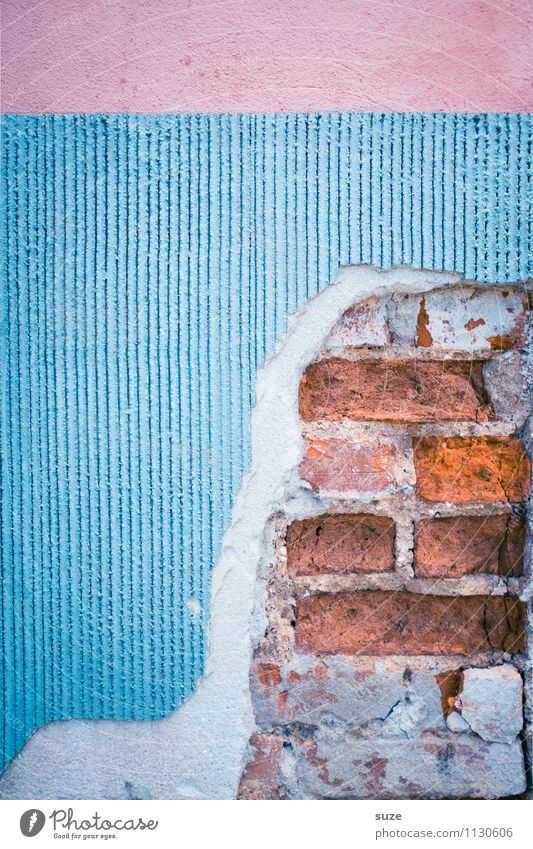 Old Blue Red House (Residential Structure) Wall (building) Wall (barrier) Background picture Art Pink Facade Dirty Authentic Concrete Transience Broken Change