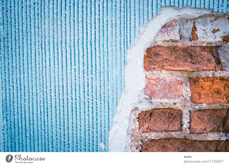 Old Blue Red House (Residential Structure) Wall (building) Background picture Wall (barrier) Art Facade Flat (apartment) Arrangement Dirty Authentic Concrete Transience Broken